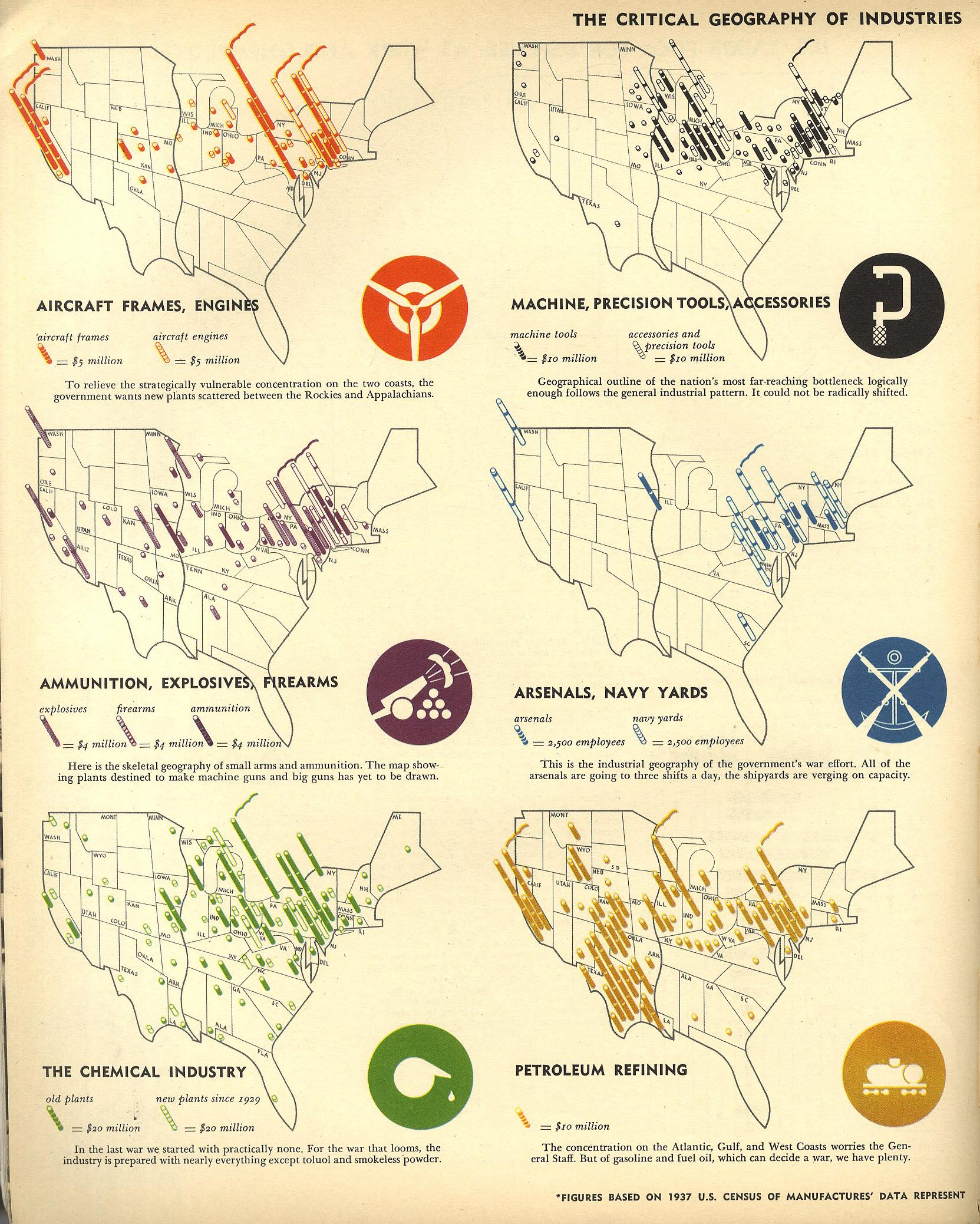 Wartime Resources of the USA Oct 1940 map usa economy ww2