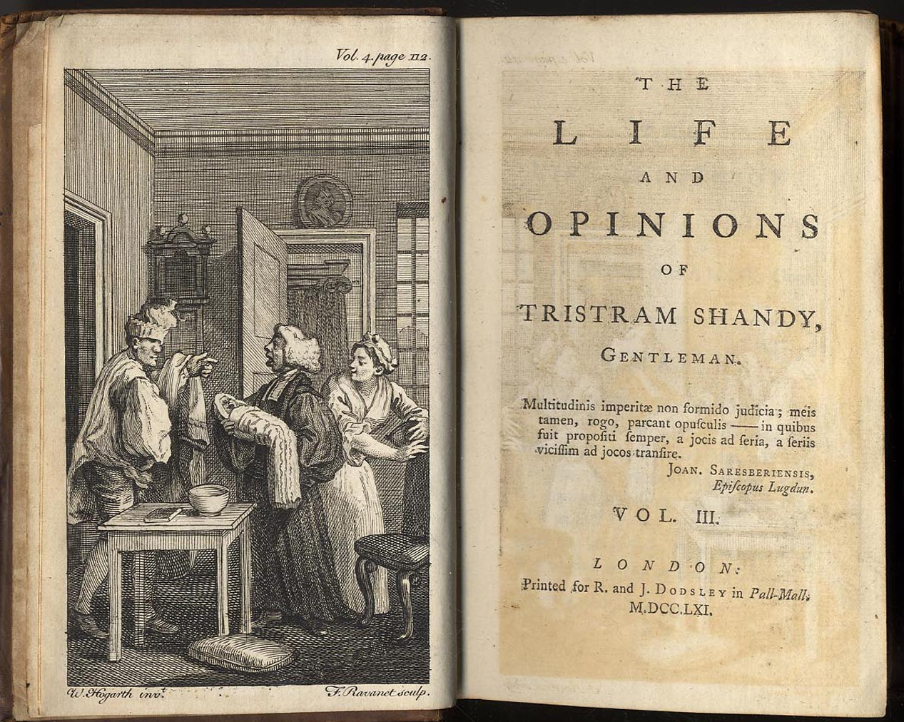 LAURENCE STERNS, TRISTRAM SHANDY, FIRST EDITION, volume three Table For Three