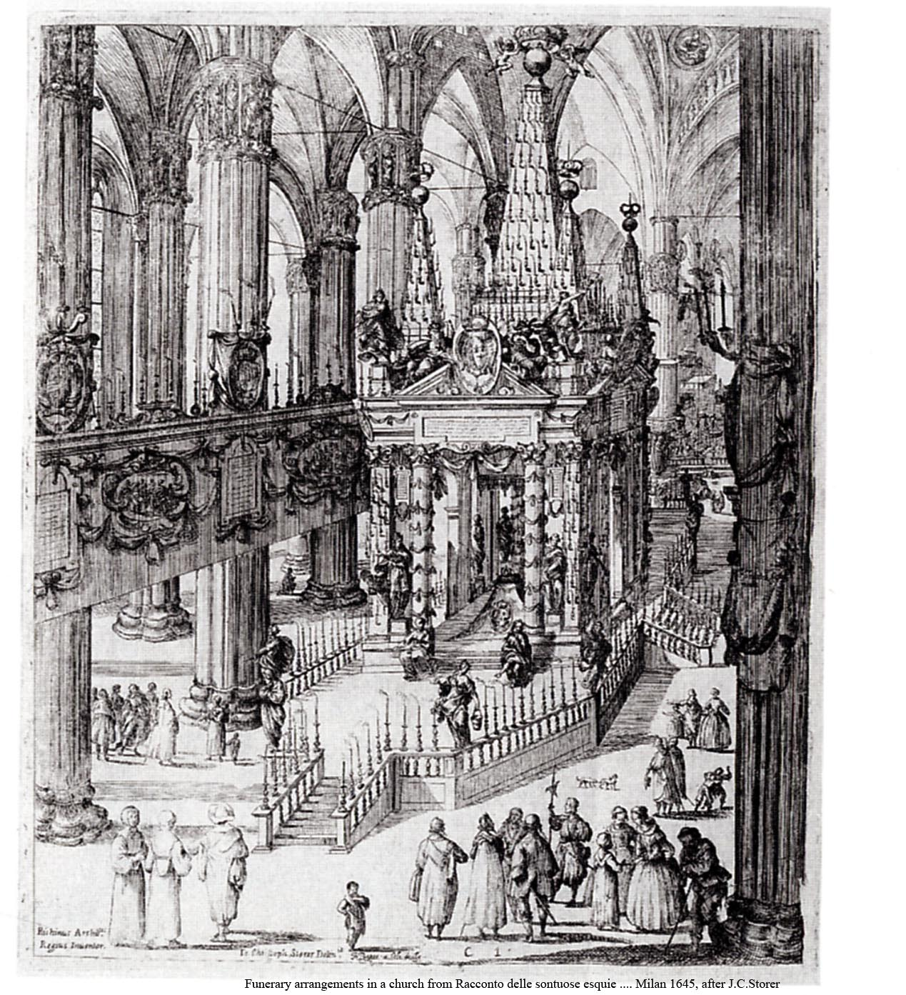 Baroque Architecture Drawings a Funeral Canopy in a Baroque