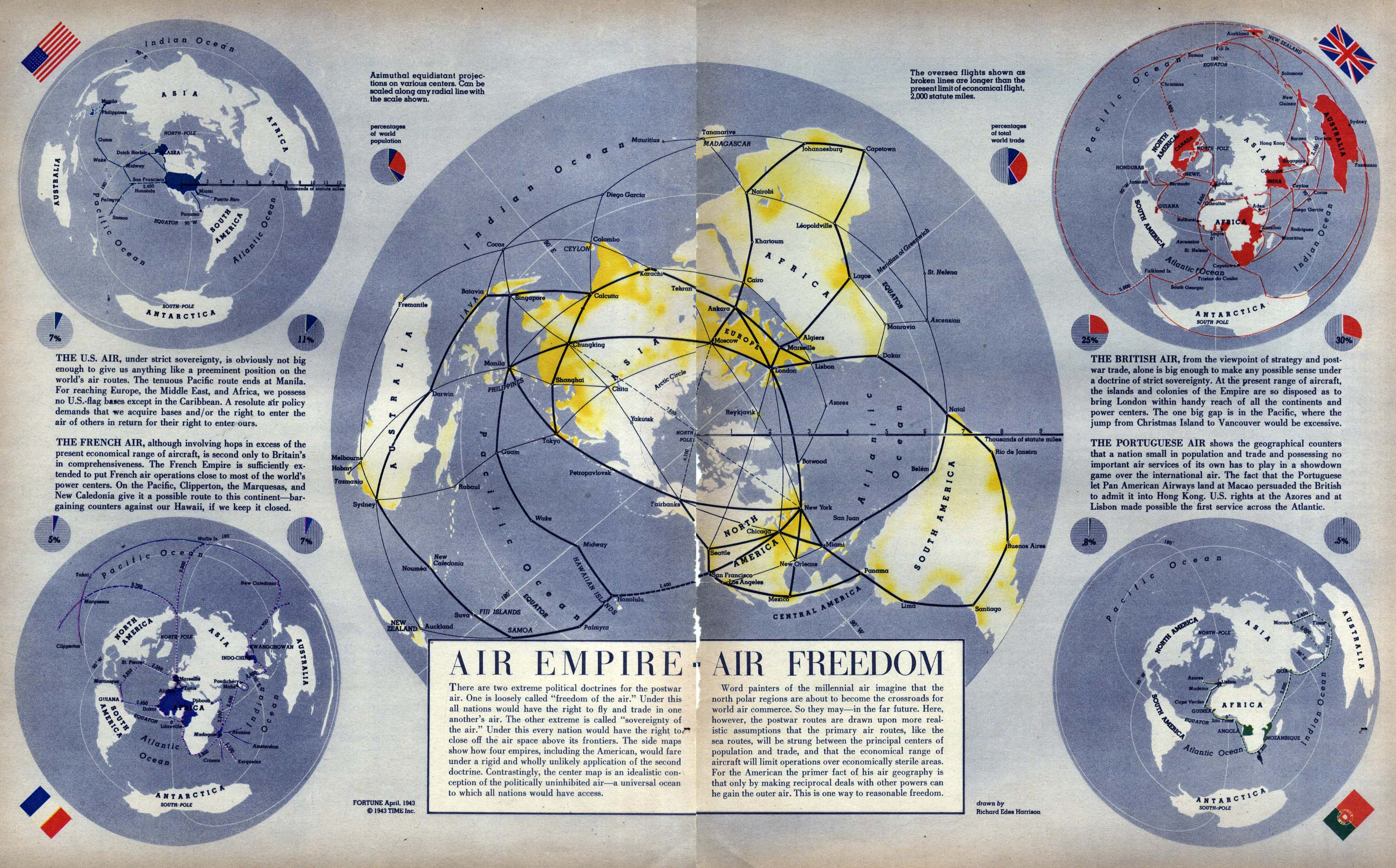 Air Map Of The World.Fortune Magazine Informational Images Maps