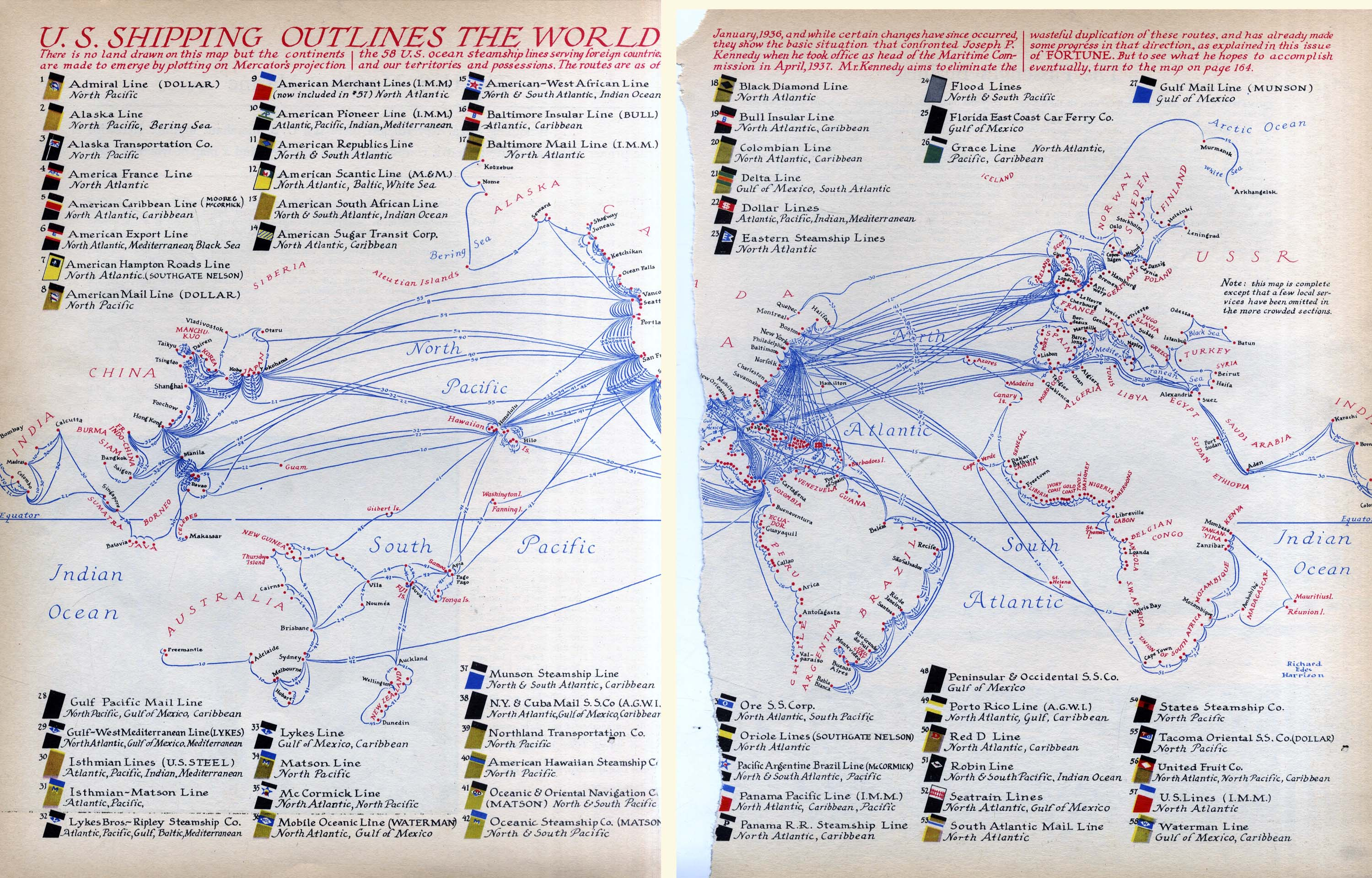 FORTUNE MAGAZINE Informational Images Maps - World map with shipping lines from us