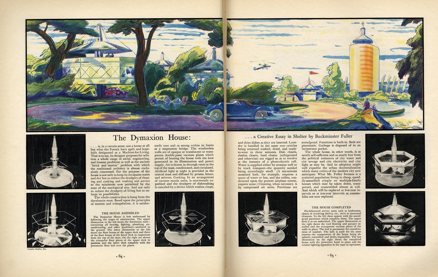Fortune magazine informational images for Dymaxion house plans