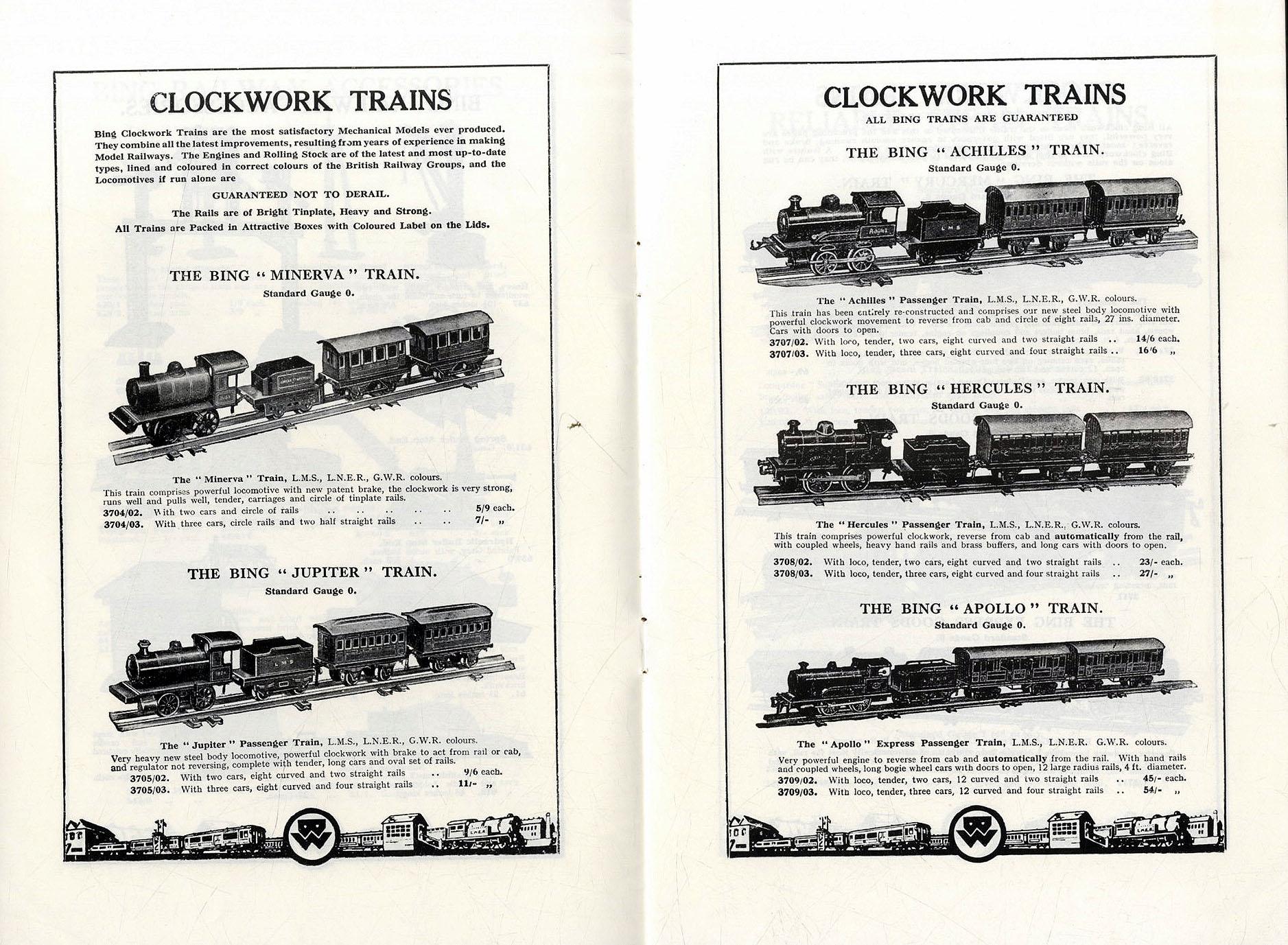 Miniaturisation, Bing English Trains catalogue 1926