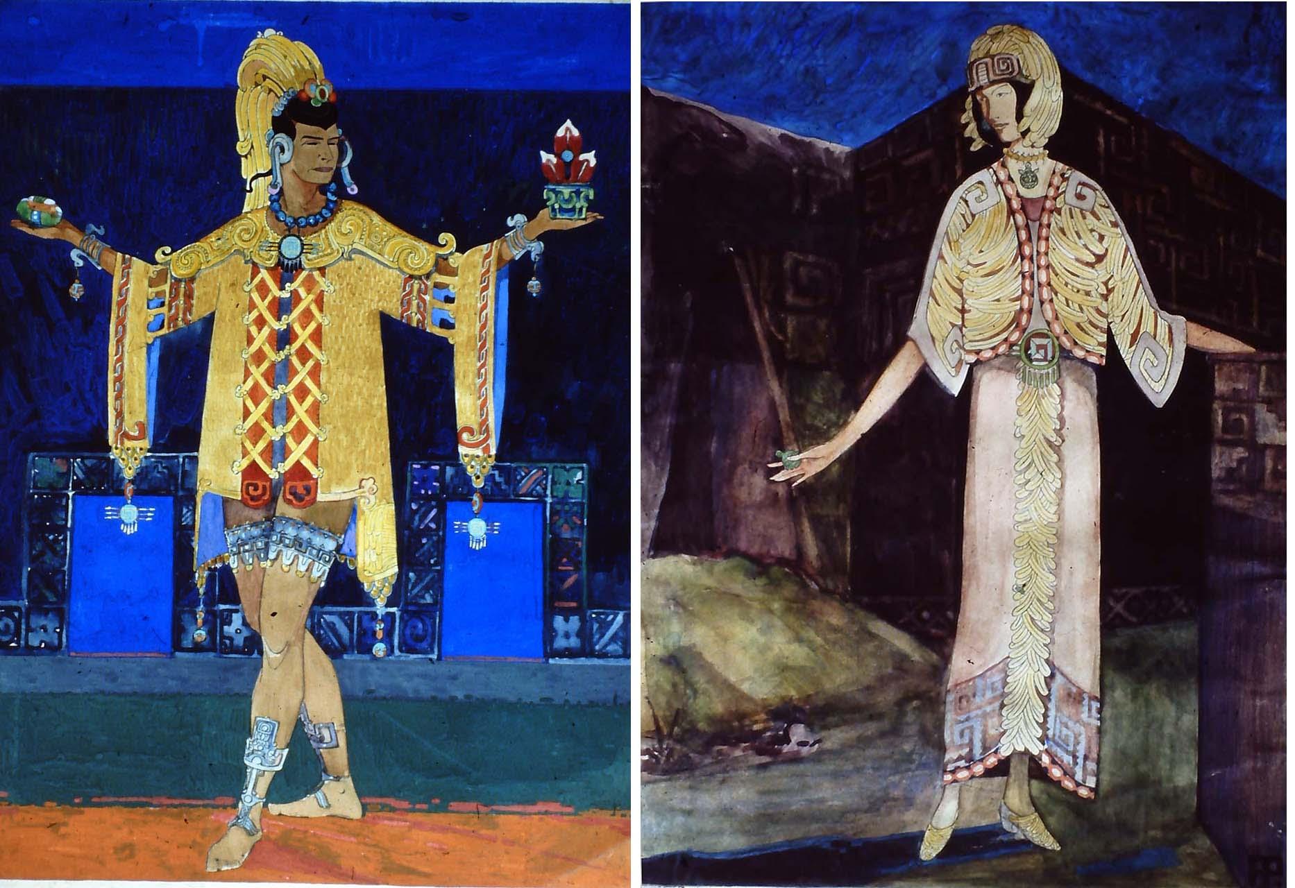 TWO INCA COSTUME DESIGNS C1930