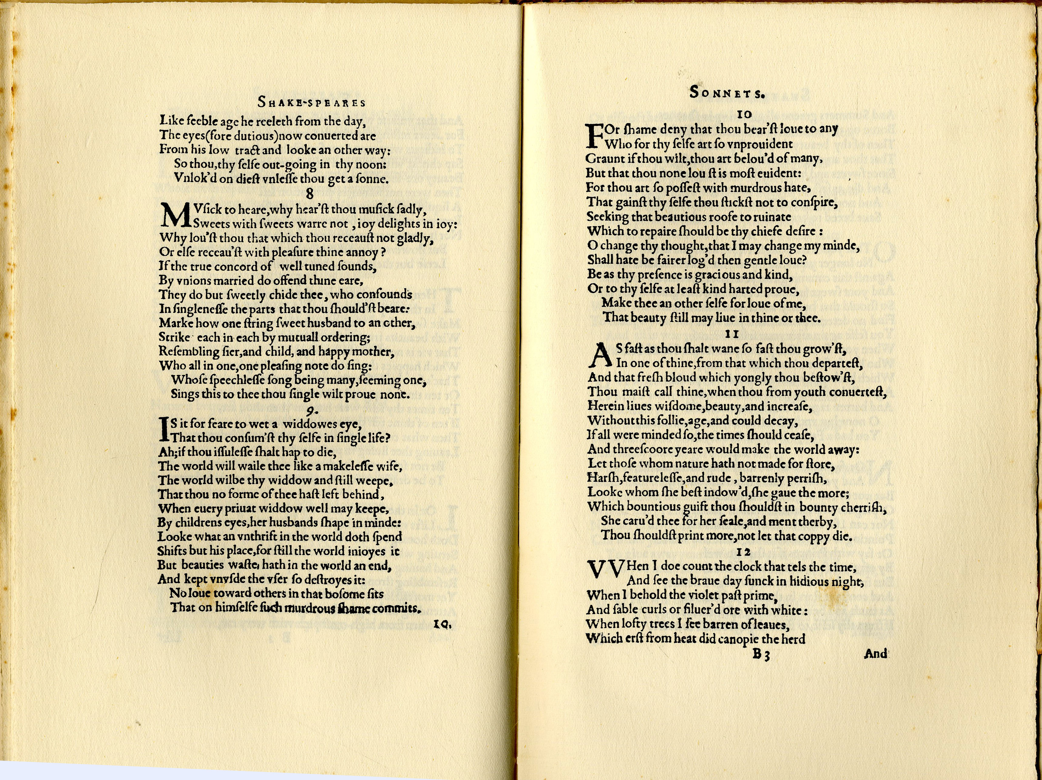PRINTING UP CLOSE, WILLIAM SHAKESPEARE, SONNETS 1609
